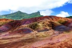 Vista principale delle terre di colore di Mauritius.Chamarel sette. Immagini Stock Libere da Diritti