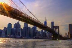 Vista puente de New York City, los E.E.U.U., Brooklyn Fotografía de archivo libre de regalías