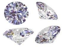 Vista quattro del diamante isolata su bianco Immagine Stock Libera da Diritti