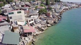 Vista a?rea de las consecuencias de un derrumbamiento en la ciudad de Chernomorsk, Ucrania almacen de metraje de vídeo