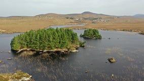 Vista a?rea de na Leabhar de Mhin Leic del lago - el lago de Meenlecknalore - cerca de Dungloe en el condado Donegal, Irlanda almacen de metraje de vídeo