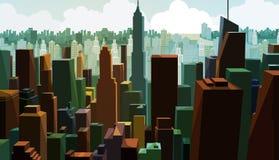 Vista a?rea de un capital c?ntrico Opini?n del paisaje urbano con dise?o de torre Panorama del distrito financiero con el alto ed stock de ilustración