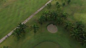 Vista a?rea del campo de golf verde en Tailandia almacen de video