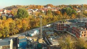 Vista a?rea del emplazamiento de la obra en la ciudad de Vilna, Lituania almacen de metraje de vídeo