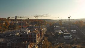 Vista a?rea del emplazamiento de la obra en la ciudad de Vilna, Lituania almacen de video