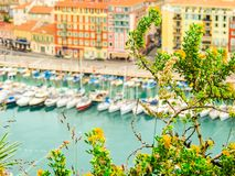 Vista a?rea del puerto viejo Agradable, Francia foto de archivo libre de regalías