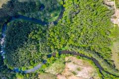 Vista a?rea do rio de Nida no Pol?nia Curvaturas naturais imagens de stock