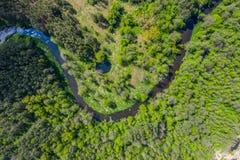 Vista a?rea do rio de Nida no Pol?nia Curvaturas naturais imagem de stock