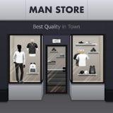 Vista realistica della via del deposito degli abiti sportivi dell'uomo royalty illustrazione gratis