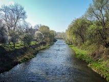 Vista Resita, Romania del ponte di Barzava Fotografie Stock
