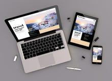vista rispondente di zenit del sito Web di viaggio di progettazione Fotografia Stock