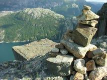 Vista rocciosa di Preikestolen Fotografia Stock