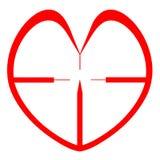 Vista roja del francotirador del corazón. Tarjeta del día de San Valentín. Salud Imagenes de archivo