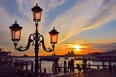 Vista romantica di Venezia al tramonto Immagini Stock Libere da Diritti