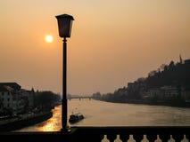 Vista romantica sul fiume il Neckar Immagini Stock Libere da Diritti