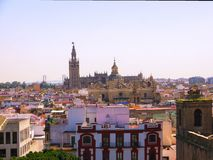 The vista of roof tops of Seville Spain, from the Metrop royalty free stock photos