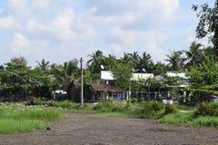 Vista rurale nel Vietnam con la casa ed il campo Immagine Stock Libera da Diritti