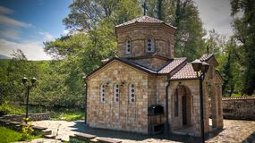 Vista a Saint Naum Monastery, Ohrid, Macedônia norte imagem de stock royalty free