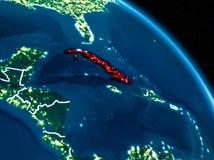 Vista satélite de Cuba na noite Imagens de Stock
