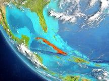 Vista satélite de Cuba no vermelho Fotos de Stock Royalty Free