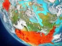 Vista satélite dos EUA no vermelho Fotografia de Stock Royalty Free
