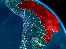 Vista satellite del Brasile alla notte Fotografia Stock