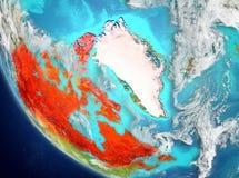 Vista satellite del Canada nel rosso Immagini Stock Libere da Diritti