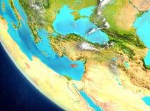 Vista satellite del Cipro nel rosso Fotografia Stock Libera da Diritti