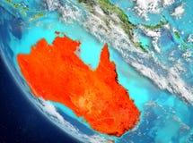 Vista satellite dell'Australia nel rosso Fotografia Stock Libera da Diritti