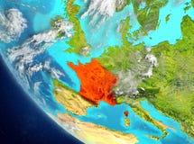 Vista satellite della Francia nel rosso Fotografie Stock