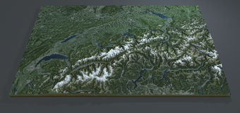 Vista satellite della Svizzera, mappa del terreno della sezione 3d Fotografia Stock