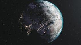 Vista satellite della Via Lattea di orbita della luna della terra di rotazione illustrazione di stock