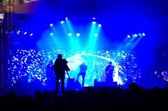 Vista sbalorditiva da un concerto in tensione Fotografie Stock