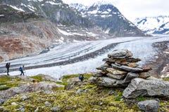 Vista sbalorditiva del ghiacciaio di Aletsch, il più grande ghiacciaio nelle alpi europee, situate nelle alpi di Bernese in Svizz Immagine Stock Libera da Diritti