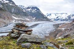 Vista sbalorditiva del ghiacciaio di Aletsch, il più grande ghiacciaio nelle alpi europee, situate nelle alpi di Bernese in Svizz Fotografia Stock Libera da Diritti