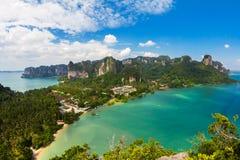 Vista sbalorditiva della baia di Railay, Krabi Fotografia Stock Libera da Diritti