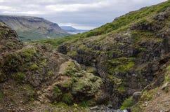 Vista scenica al canyon della cascata di Glymur - più alta cascata di Fotografia Stock
