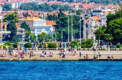 Vista scenica costiera della Croazia durante il giorno di estate Fotografia Stock Libera da Diritti