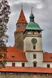 Vista scenica del castello di Bouzov fotografia stock