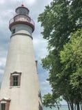 Vista scenica del faro bianco di Marblehead nell'Ohio Fotografia Stock Libera da Diritti