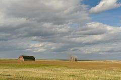 Vista scenica del giacimento e del granaio di grano Immagini Stock