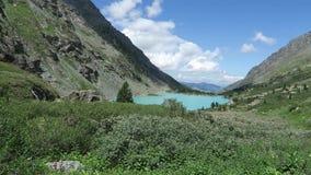 Vista scenica del lago del turchese di Akchan Montagne di Altai archivi video