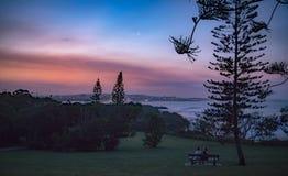 Vista scenica del parco all'alba fotografia stock libera da diritti