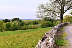 Vista scenica del rifugio nazionale di Oxbow Wildlfe preso da Harvard, Massachusetts, Stati Uniti Fotografia Stock Libera da Diritti