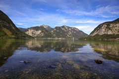 Vista scenica della cartolina del paesino di montagna famoso di Hallstatt Fotografia Stock Libera da Diritti