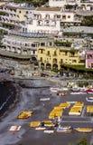 Vista scenica della cartolina di bella città di Positano Fotografie Stock Libere da Diritti