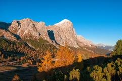 Vista scenica della catena montuosa di Tofane in soleggiato alla mattina di autunno Dolomia, Italia Immagini Stock Libere da Diritti