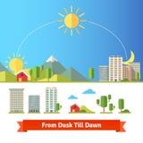 Vista scenica della città e del paesaggio rurale Immagini Stock Libere da Diritti