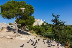 Vista scenica della roccia dell'acropoli di Atene nello spirito della Grecia fotografia stock libera da diritti