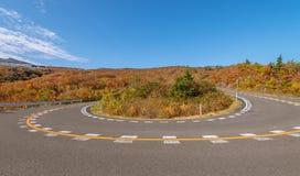 Vista scenica della strada dell'alta montagna alla montagna di Zao Immagini Stock Libere da Diritti